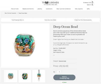 At Trollbeads, the Perfion PIM system automatically pushes all product information to the B2B and B2C webshops