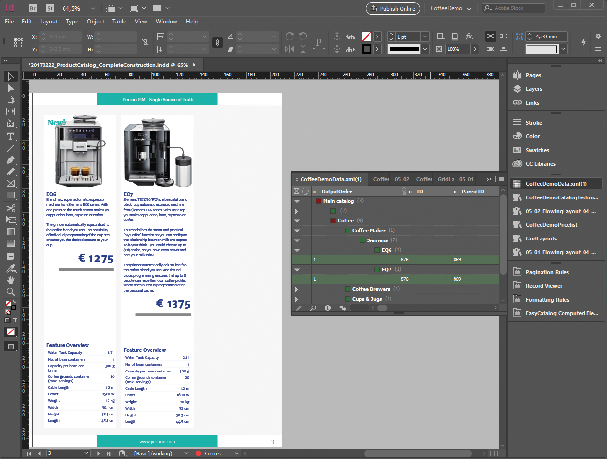 Adobe InDesign catalog created with Perfion PIM